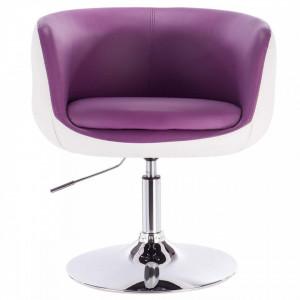 SCA201 - Scaun tapitat Alb si Violet pentru masa toaleta, birou, bar, lounge, imitatie de piele, inaltime reglabila