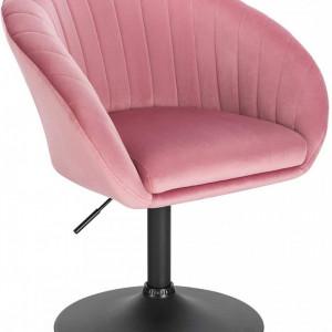 SCA223 - Scaun tapitat pentru masa toaleta, birou, bar, catifea, inaltime reglabila - Roz