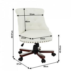 SCA603 - Fotoliu birou, Scaun tapitat, scaun masuta, masa toaleta, machiaj - Alb