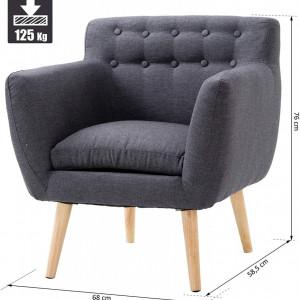 SCAG201- Fotoliu, scaun masuta toaleta machiaj cosmetica, scaunel, divan tapitat, living, dormitor, dining - Gri inchis sau Gri deschis