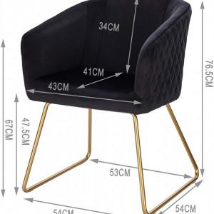 SCAU210 - Scaun masuta toaleta machiaj cosmetica tapitat - Auriu - Negru