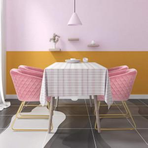 SCAU211 - Scaun masuta toaleta machiaj cosmetica tapitat - Auriu - Roz