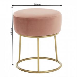 SCAU602 - Scaun tapitat, masa toaleta, taburet machiaj - Auriu-Roz