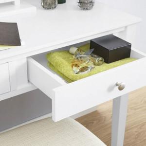 SEA142 - Set Masa Alba toaleta cosmetica machiaj oglinda masuta, scaun, taburet tapitat
