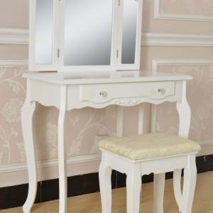 SEA208 - Set masa toaleta Alb oglinda tripla, scaun, cosmetica machiaj