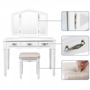 SEA222 - Set Masa toaleta cosmetica machiaj oglinda masuta vanity, scaunel, taburet tapitat - Alba
