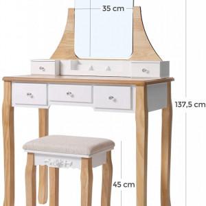 SEA282 - Set Masa alba toaleta, 80 cm, cosmetica machiaj cu oglinda, masuta vanity - Aba-Maro