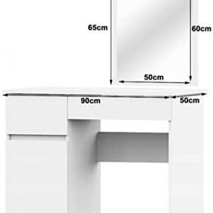SEA295 - Set Masa toaleta, 90 cm, cosmetica machiaj cu oglinda, masuta vanity - Alb