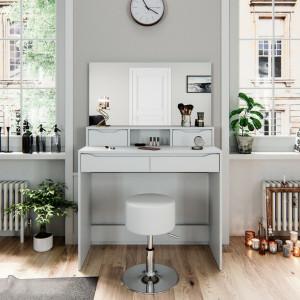 SEA341 - Set Masa alba toaleta moderna, 100 cm, cosmetica machiaj oglinda masuta vanity cu oglinda cu LED sau fara LED