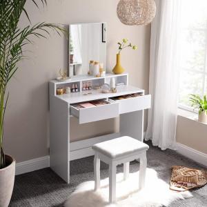 SEA344 - Set Masa toaleta cosmetica 80 cm machiaj masuta vanity, oglinda make-up, cosmetica - Alb