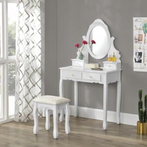 SEA407 - Set Masa alba toaleta cosmetica machiaj oglinda masuta, scaunel taburet tapitat