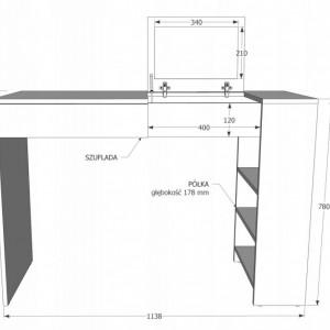 SEA510 - Set Masa alba toaleta cosmetica machiaj masuta vanity birou cu oglinda rabatabila