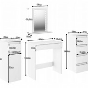 SEA522 - Set Masa alba toaleta, 136 cm, cosmetica machiaj oglinda cu LED, masuta vanity