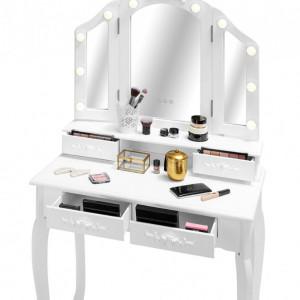 SEA536 - Set Masa alba toaleta, 80 cm, cosmetica machiaj oglinda cu LED, masuta vanity, scaunel, taburet tapitat