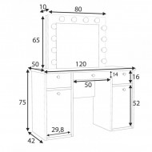 SEA537 - Set Masa toaleta cosmetica 120 cm machiaj oglinda masuta vanity, oglinda cu LED-uri - Alb