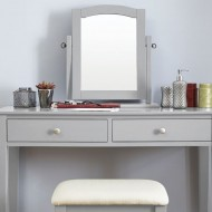 SEG107 - Set Masa Gri toaleta cosmetica machiaj oglinda masuta, scaun, taburet tapitat