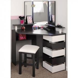 SEM208 - Set Masa alb/negru toaleta moderna cosmetica machiaj oglinda cu LED-uri masuta vanity