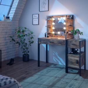 SEM228 - Set Masa toaleta, 110 cm, cosmetica machiaj oglinda cu sau fara LED, masuta vanity, cu sau fara bancuta - Maro stil industrial