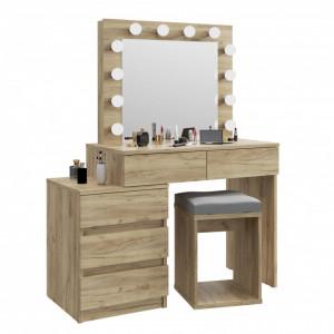 SEM510 - Set Masa toaleta, 112 cm, cosmetica machiaj oglinda masuta vanity, oglinda cu LED-uri cu sau fara scaun - Culoare Stejar