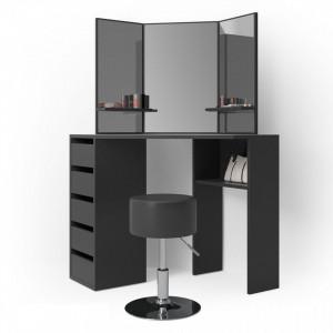 SEN222 - Set Masa neagra toaleta cosmetica machiaj oglinda masuta vanity pe colt