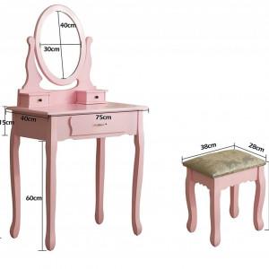 SER105 - Set Masa toaleta cosmetica machiaj oglinda masuta vanity - Roz