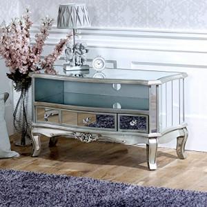 COOG101 - Comoda TV oglinda, dulap cu 3 sertare, dormitor, living - Argintiu