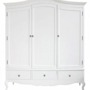 DUA58 - Dulap alb, sifonier dormitor triplu cu 3 sertare, manere tip cristal - Colectia Genova