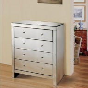 COOG103 - Comoda oglinda, dulap cu 4 sertare, dormitor, living - Argintiu