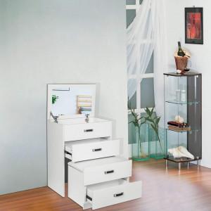 SEA285 - Set Masa toaleta, 60 cm, cosmetica machiaj cu oglinda, masuta vanity, scaun tapitat, comoda make-up- Alba