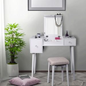 SEA605 - Set Masa toaleta, 80 cm, consola cosmetica machiaj masuta vanity make-up cu oglinda rabatabila si scaun tapitat- Alb