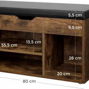 BAI203 - Banca industriala 80 cm, pentru Hol, pantofi, patofar, bancuta depozitare tapitata- Maro
