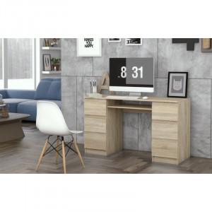 BIM501 - Masa de Birou 130 cm, office pe colt - Sonoma, Stejar si Gri