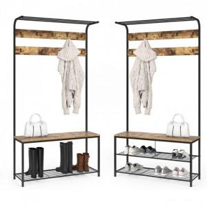 CUII206 - Cuier industrial 100 cm, pentru haine, chei, hol, rafturi pantofi, pantofar - Maro