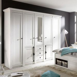 DUA116 - Dulap, sifonier cu 5 usi, bara umerase, rafturi, sertare si oglinda, dormitor - Alb