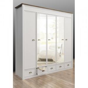 DUA118 - Dulap, sifonier cu 5 usi, bara umerase, rafturi, sertare si oglinda, dormitor - Alb