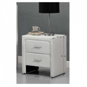 NOA209 - Set 2 Noptiere albe capitonate cu 2 sertare pentru dormitor - Piele ecologica