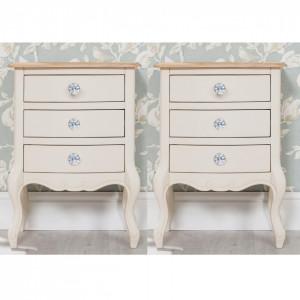 NOC55 - Set 2x noptiere crem pentru dormitor cu 3 sertare, manere tip cristal - Colectia Genova