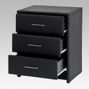 NON204 - Noptiera neagra capitonata cu 3 sertare pentru dormitor - piele ecologica
