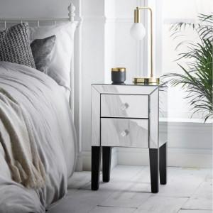 NOOG124 - Noptiera 39 cm, cu 2 sertare, dormitor - Oglinda - Argintiu