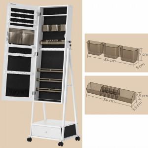 OGA209 - Oglinda caseta de bijuterii, dulap, dulapior cu picioare dormitor, dressing - Alb