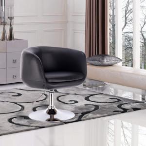SCA215 - Scaun tapitat Negru pentru masa toaleta, birou, bar, lounge, imitatie de piele, inaltime reglabila