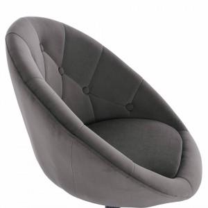 SCA226 - Scaun tapitat Gri catifelat pentru masa toaleta, birou, bar, lounge, inaltime reglabila