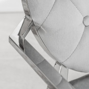 SCAG204 - Scaun tapitat cu picioare din metal, living, dining - Argintiu sau Negru