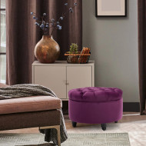 SCN16 - Scaun masuta toaleta machiaj cosmetica, fotoliu, scaunel, divan cu lada - tapiterie catifea - Mov