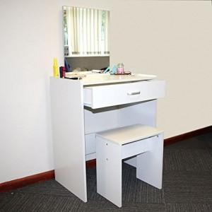 SEA149 - Set Masa alba toaleta cu 1 sertar cosmetica machiaj oglinda masuta si scaun