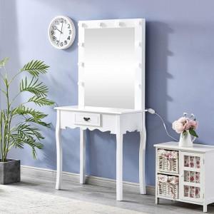 SEA157 - Set Masa toaleta cosmetica 80 cm machiaj masuta vanity, oglinda cu LED-uri - Alb sau Negru