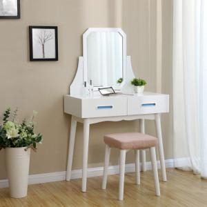 SEA239 - Set Masa alba toaleta cosmetica machiaj oglinda masuta vanity, scaunel, taburet tapitat