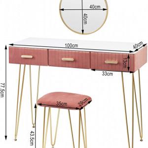 SEA349 - Set Masa toaleta, 100 cm, cosmetica machiaj cu oglinda si scaun, masuta vanity - Alb