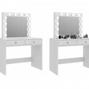 SEA504 - Set Masa toaleta cosmetica machiaj oglinda masuta vanity, oglinda cu LED-uri - Alb, Maro sau Negru