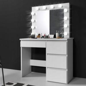 SEA505 - Set Masa toaleta cosmetica machiaj oglinda masuta vanity, oglinda cu LED-uri cu sau fara scaun - Alb